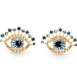 Evil Eye Hamsa Kabbalah eye crystal stud earrings